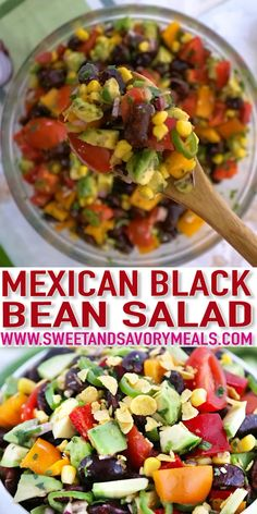 Black bean salad is as festive-looking as it tastes made with avocado corn bell peppers lime and juicy tomatoes. It bursts of Mexican flavors packed into one delightful easy recipe that you can assemble in just ten minutes! Black Bean Salad Recipe, Black Bean Recipes, Bean Salad Recipes, Tex Mex Salad Recipe, Easy Bean Recipes, Vegan Bean Recipes, Black Bean Corn Salad, Mexican Food Recipes, Vegetarian Recipes