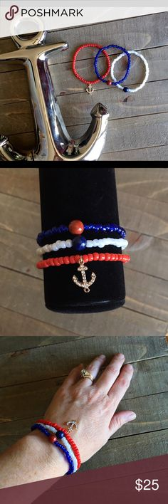 Gemstone and Seed Bead Anchor Bracelet Set I designed this set of 3 bracelets for protection for the wearer. Features, glass seed beads, gold anchor charm, Red Jasper and Lapis Lazuli. These bracelets can be worn together or alone. Handmade Jewelry Bracelets