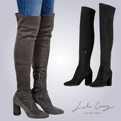 Lola Cruz Damen Schuhe - das Highlight aus der aktuellen HW18 Kollektion sind die schmalen Overknees aus Wildleder. Jetzt neu bei C. Strauch Wels! Shops, Knee Boots, Fashion, Fashion Styles, Wels, Shoes Online, Women's Shoes, Suede Fabric, Bags