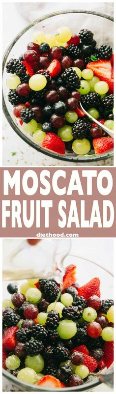 Moscato Fruit Salad - Prepared with colorful grapes and berries, this light, boozy, and delicious fresh fruit salad makes the perfect accompaniment to your summer nights! Moscato Fruit Salad also known as Drunk Fruit Salad. Summer Salads With Fruit, Fresh Fruit Salad, Fruit Salad Recipes, Fruit Fruit, Fruit Jello, Creamy Fruit Salads, Jello Salads, Fruit Drinks, Soup And Salad