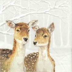 Paper Napkins for Decoupage Craft - Fallow Deer in Winter Napkin Decoupage, Paper Napkins For Decoupage, Tissue Paper Crafts, Decoupage Vintage, Shop Logo, Halloween Crafts, Christmas Crafts, Halloween Ideas, Merry Christmas