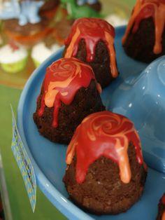 dinosaur theme volcano cakes