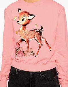 Asos - Pink Cropped Boyfriend Sweatshirt with Cute Deer Print