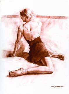 """Kryslyn"" by Robert T. Barrett, ballerina floor exercise drawing. Great model pose. roberttbarrett.com"