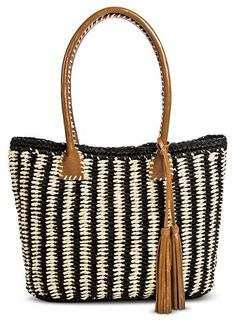 Women's Vertical Stripes Straw Tote Handbag with Tassels - Black/Natural