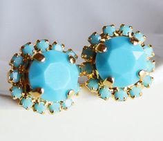 Miss Tur Earrings Turquoise Stud Earrings by RachellesJewelryBox, $30.00
