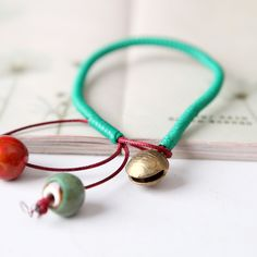 Jewelry Fashion Minimalist Style Handmade Copper Bell Ceramic Beads Charm Pendant Bracelet Fashion Jewelry Nickel