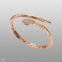 Robert Coin Rose Gold And Brown Diamond Snake Bracelet