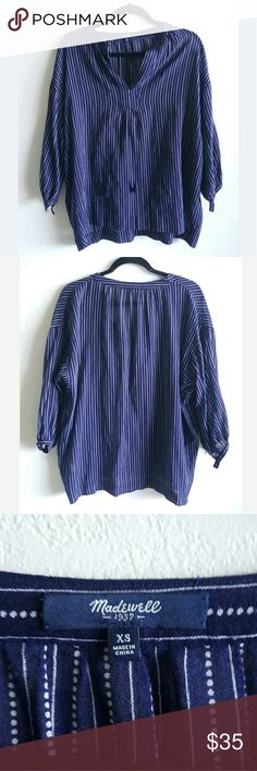 Madewell Camelia Tassle Oversized Blouse Great condition  Madewell  Size XS  it does have an oversized look Tassels  Stripes, and vertical dots Madewell Tops Blouses