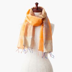 """The silk stole from Cambodia named """"Orange & Blue""""."""