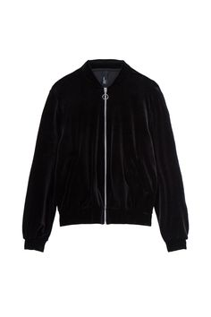 For something a little different to the norm, look to velvet textures in the form of this luxe black bomber jacket. Velvet Bomber Jacket, Black Bomber Jacket, Leather Jacket, Winter Fashion 2016, 2016 Winter, Sweater Coats, Sweaters, Top Coat, Black Velvet