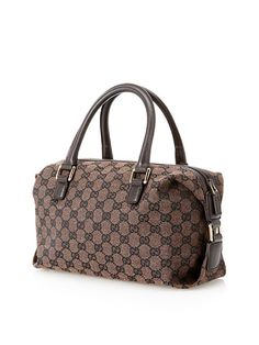 abb8f5dce2 GUCCI BOSTON BROWN GG CANVAS LEATHER BAG http://www.boutiqueon57.com