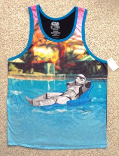 NEW Funny STORM TROOPER TANK TOP Swimming Pool Lounge Chair Raft Star Wars Blue #FifthSun #Tank