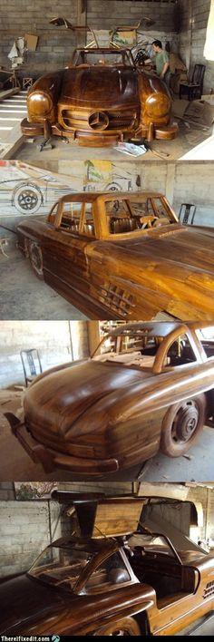 full-size teak replica of a 1955 Mercedes Benz 300SL Gullwing....wow...