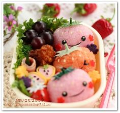 Strawberry Trio bento