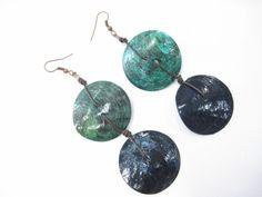 Обици от седеф и естествена кожа  #earrings #obitsi #handmade