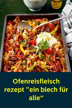 """Ofenreisfleisch rezept """"ein blech für alle"""" - New Ideas Healthy Eating Tips, Healthy Nutrition, Banana Recipes, Meat Recipes, Prosciutto Asparagus, Party Buffet, Vegetable Drinks, Eating Plans, Food And Drink"""