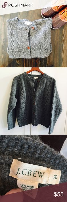 J. Crew 100% Shetland Wool Gray Cable Knit Sweater J. Crew 100% Shetland Wool Gray Cable Knit Chunky Cardigan Sweater. Size M.  This thick, sweater has wood buttons (extra button still sewn inside) and an awesome 90s normcore vibe. Very warm and cozy, not fitted. Make me an offer 😉 J. Crew Sweaters Cardigans