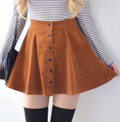 Lisa Button Skirt - Caramel