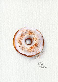 Cinnamon Doughnut - ORIGINAL Painting (Dessert Illustration, Still Life, Watercolour Food Wall Art) 5x7