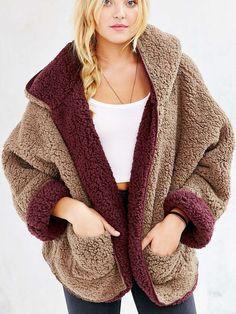 Burgundy Reversible Faux Fur Hooded Coat