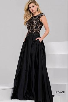 Black Lace Bodice A-Line Evening Gown 36571