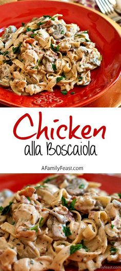 Chicken alla Boscaiola - Pasta and chicken with a creamy sauce of mushrooms, pancetta and parmesan. Delicious comfort food!