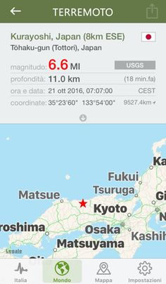 20 minuti fa si è verificata una scossa sismica di intensità 6.6 a Tōhaku-gun (Tottori), Japan (Kurayoshi, Japan (8km ESE))