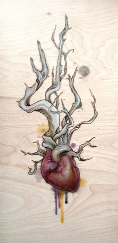Fay Helfer, Driftwood Heart 03, pyrography