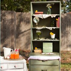 Shabby Chic Green Distressed Dresser Hutch. Sweets Table. Vintage Wedding Lounge. Vintage Prop Rentals & Styling Houston Texas. via A Style Collective. #astylecollective www.astylecollective.com
