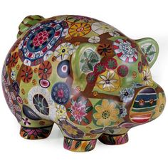 Imax Folk Art Multi Color Country Style Piggy Bank 18922 - Statues & Figurines - Home Decor & Accessories Cute Piggies, This Little Piggy, Dot And Bo, Joss And Main, Cool Stuff, Floral Motif, Art Floral, Decorative Objects, Decorative Accents