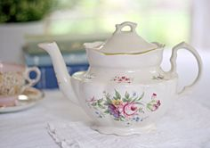 Vintage English Floral Teapot by Crowne Oakes by curateandlove