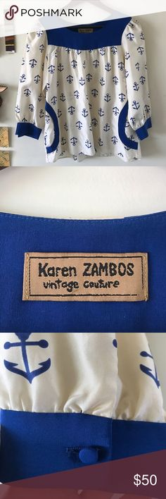 Karen Zambos Vintage Couture Anchor Blouse 100% silk, dry clean only. Very good condition, I've had it for a while but never wore it out 💕 super cute w distressed denim and booties or flats! *will consider offers Karen Zambos Tops Blouses