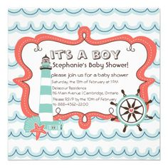 Blue Nautical Its a Boy Baby Shower Invitation