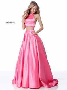 050778ecfa3 Pink Satin Sherri Hill 51883 Two Piece Long Cheap Prom Dress 2018