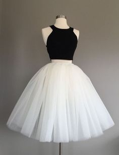 Uhc0059, cut, back and white, 2 pieces, A-line, O-neck, tulle, homecoming dresses, short prm dress, granduation dress