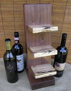 Wood Wine Rack Display Stand Black Walnut by OnondagaHillWoodwork