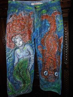 Hand painted jeans trouser size M (28). - pinned by pin4etsy.com