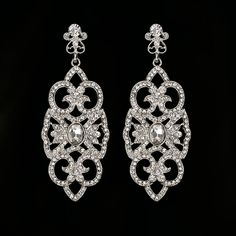 Flor grande largo Azul pendientes de gota de cristal para las mujeres de la vendimia plateado plata Pendientes de novia Joyería de La boda accesorios # E265