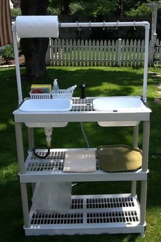 Homemade sink and potting table...standard plastic Big Box store shelves