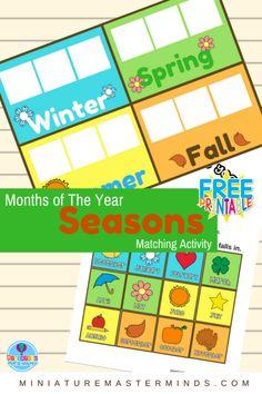 Months of The Year Preschool Season Matching Activity