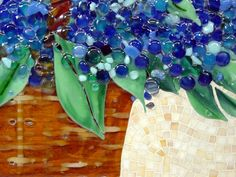 """Blue Basket of Hydrangeas"""" in Fused Glass and Mosaics Glass ..."""