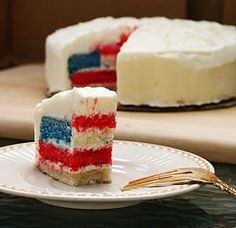 4th of July Cake!  Fun cake when you slice it, each piece is a flag!