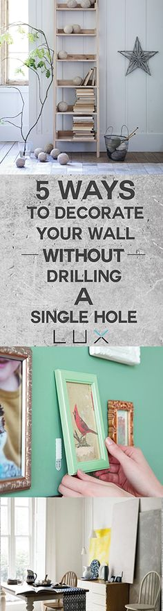 Renting? You can decorate your wall without drilling a single hole. Makeover time!