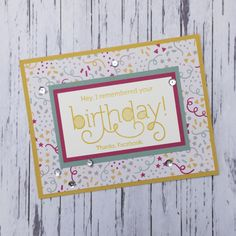 stampcandy.net, Stampin' Up!, Age Awareness stamp set, It's My Party DSP, Metallic Sequin Assortment (silver,) Hey I remembered your birthday, Thanks Facebook, funny birthday card, Crushed Curry, Mint Macaron, Melon Mambo, cardmaking, papercrafts