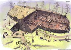 sketches of fantasy houses Fantasy City, Fantasy Castle, Fantasy House, Fantasy Places, Fantasy Map, Medieval Fantasy, Fantasy World, Casa Viking, Viking House