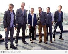 """The Avengers"" cast: (L to R) Jeremy Renner, Chris Hemsworth, Scarlett Johansson, Robert Downey Jr., Mark Ruffalo, Tom Hiddleston. Where is cap'n america??"