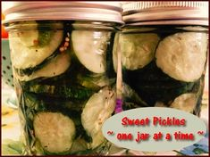 Sweet Pickles - One Jar at a   http://www.momspantrykitchen.com/sweet-pickles---one-jar-at-a-time.html