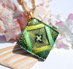 LARGE Fused Dichroic Glass Pendant Fused Glass by IntoTheLight, $27.00