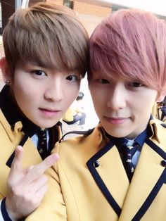 TEEN TOP's Ricky and MYNAME's Chaejin take high school graduation photos